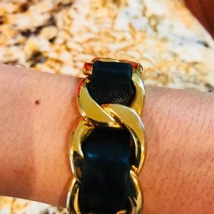CHANEL Jewelry - Vintage Authentic Gold Chanel leather cuff bangle